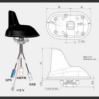 Aktiv sharkantenne for takmontering DAB FM GPS-ant - Fakra -378501