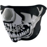 2503-0086 CHROME SKULL HALF FACE MASK ONE SIZE